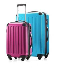 2er Kofferset Handgepäck + Reisekoffer in verschiedenen Farben von HAUPTSTADTKOFFER Ⓡ (Cyanblau 119 L, Magenta 42 L)